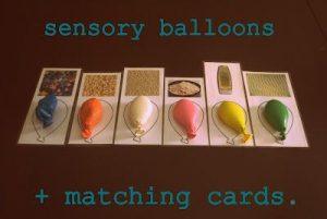 Ballons sensoriels avec cartes à associer